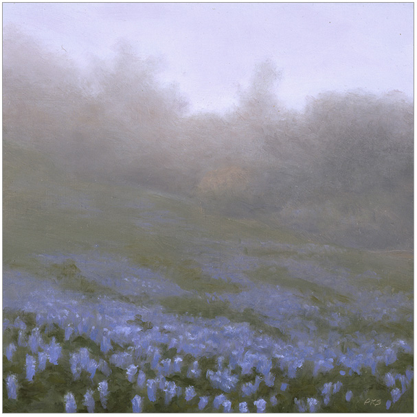 """Field of Lupines at Figueroa Mountain  5 x 5""""  oil on panel  2006"""
