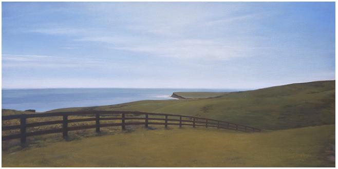 "Fenceline at Hollister  12 x 24""  oil on canvas  2002"