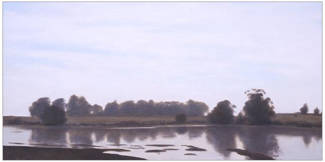 "Afternoon Light, Devereux Slough  8 x 16""  oil on panel  2006"