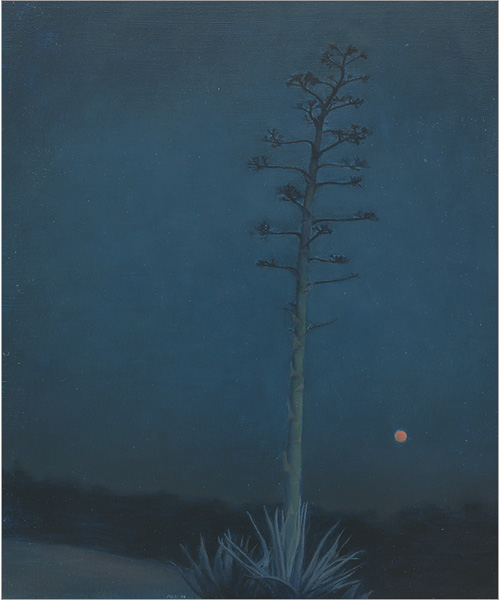 """Agave and Orange Moon  12 x 10""""  oil on panel  2004"""