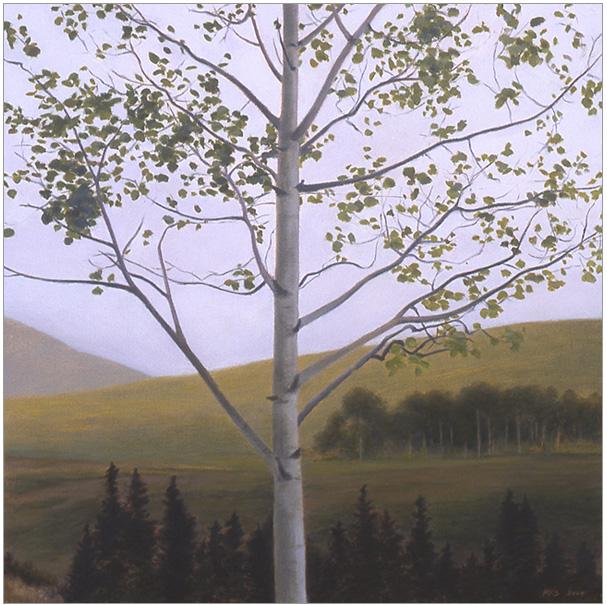 "Aspen Tree, Crested Butte  10 x 10""  oil on panel  2004"