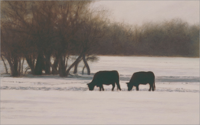 """Cows and Willows, February  5 x 8""""  oil on panel  2010"""
