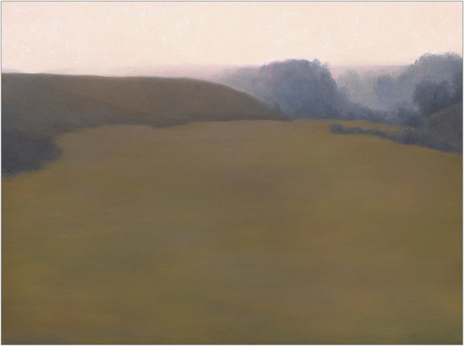 """Red-Green Field, Bixby Ranch  9 x 12""""  oil on panel  2004"""