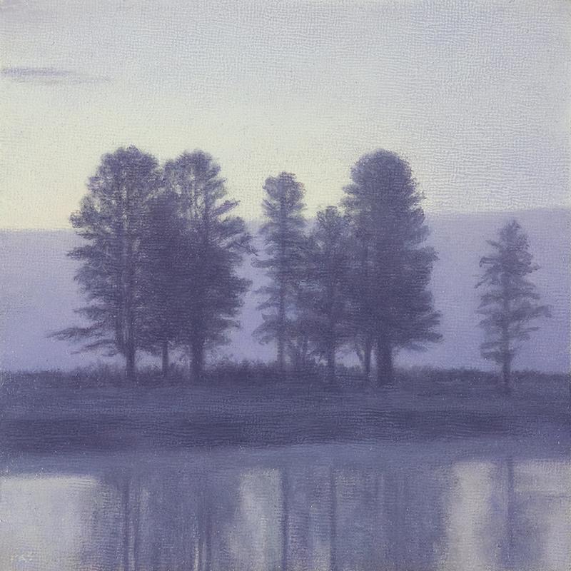 """Trees at Sunrise, Hayden Valley 5 x 5"""" oil on linen 2014"""