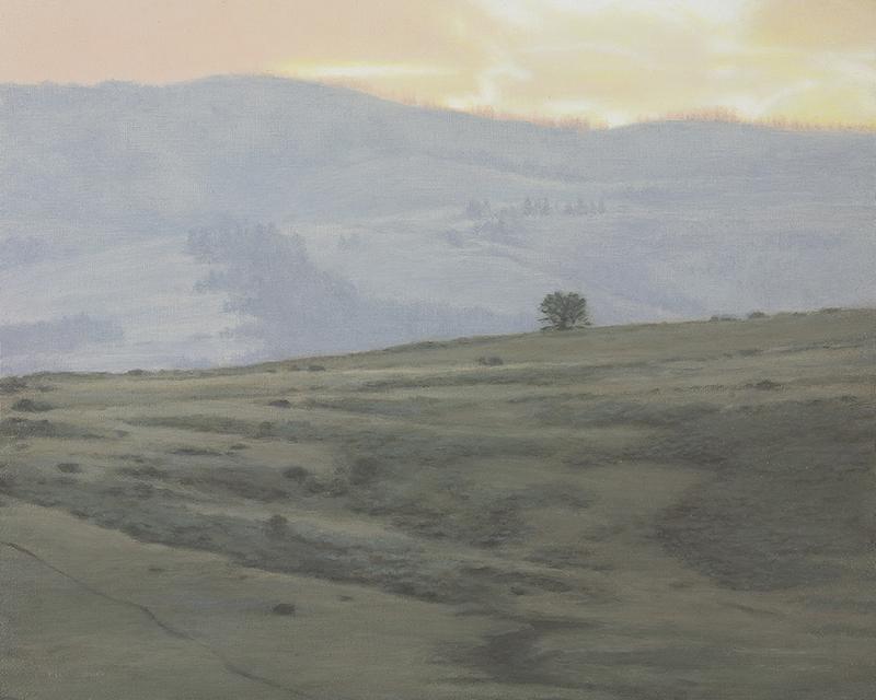 """Sunset, Lamar Valley 8 x 10"""" oil on panel 2015"""