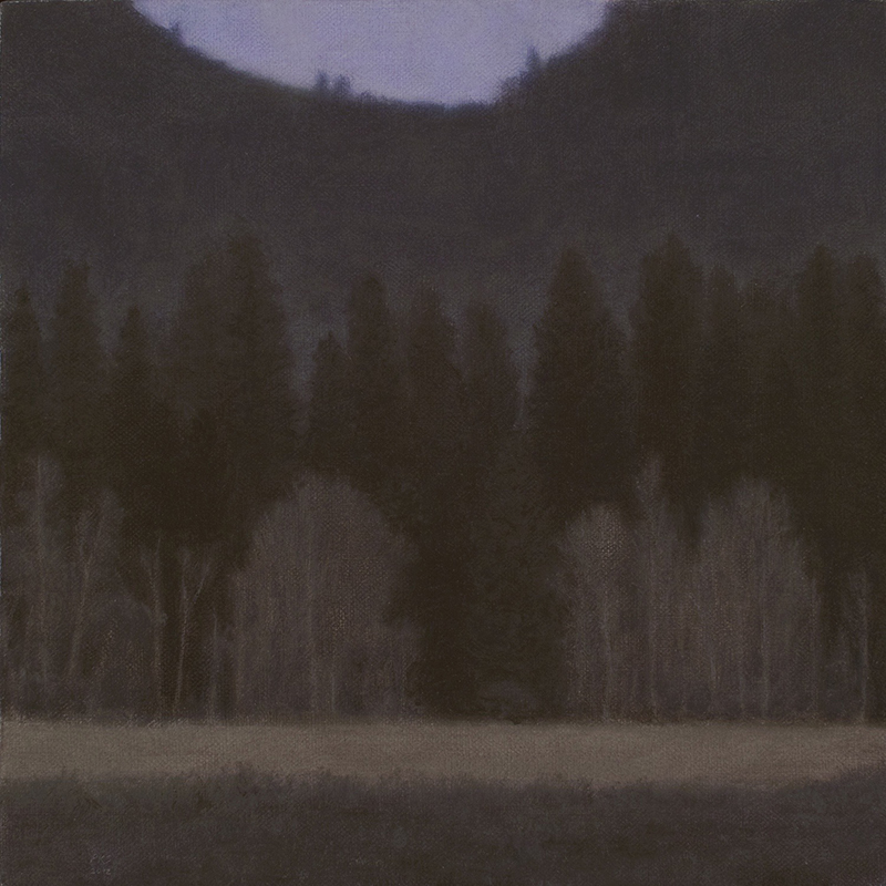 "Yosemite Valley at Dusk 10 x 10"" oil on linen 2012"