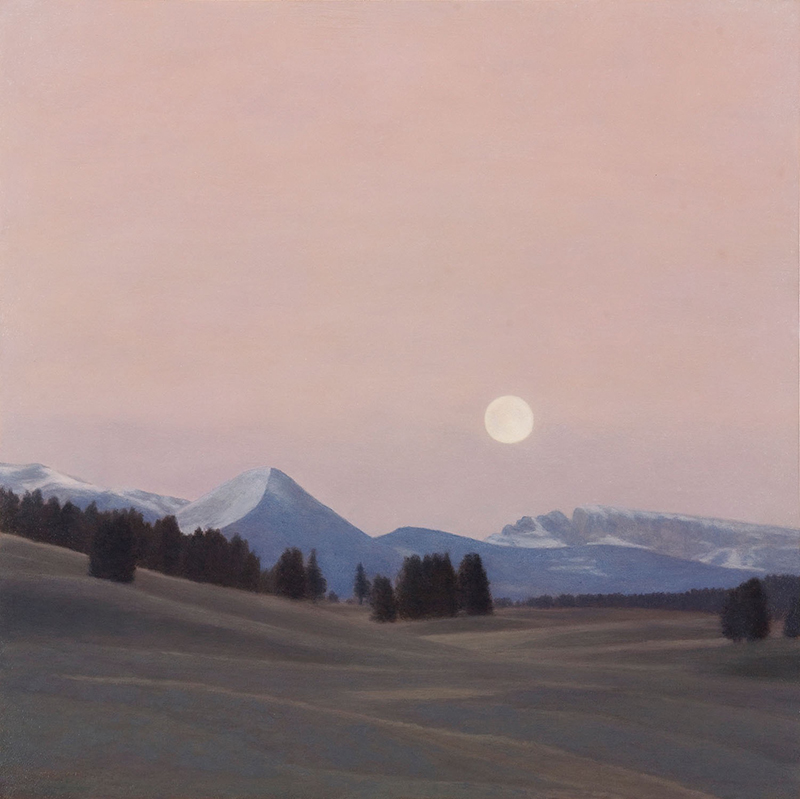 """Full Moon, Hayden Valley 12 x 12"""" oil on panel 2015"""