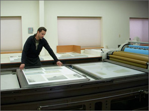Geoff Harvey printing one of the initial runs of color