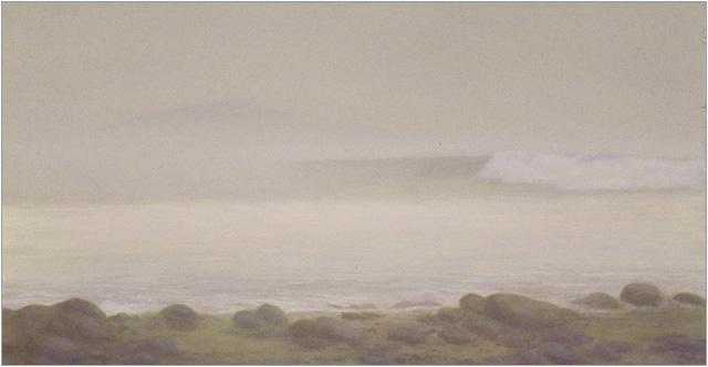 "Morning Fog, Miramar Beach  5 x 10.5""  oil on panel  2007"