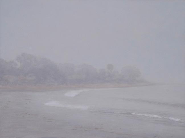 "Fog, Miramar Beach  9 x 12""  oil on panel  2011"