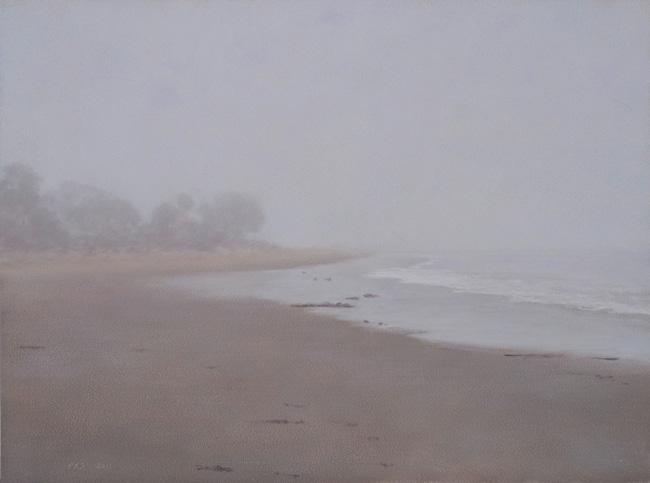"Fog, Miramar Beach #2  9 x 12""  oil on panel  2011"