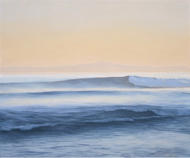 "Island, Sunset, Wave  10 x 12""  oil on panel  2004"