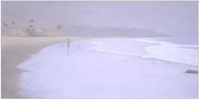 "Early Morning at Carpinteria Beach  12 x 24""  oil on panel  2006"