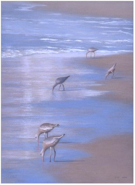 "Glistening Shoreline  8 x 6""  oil on panel  2006"