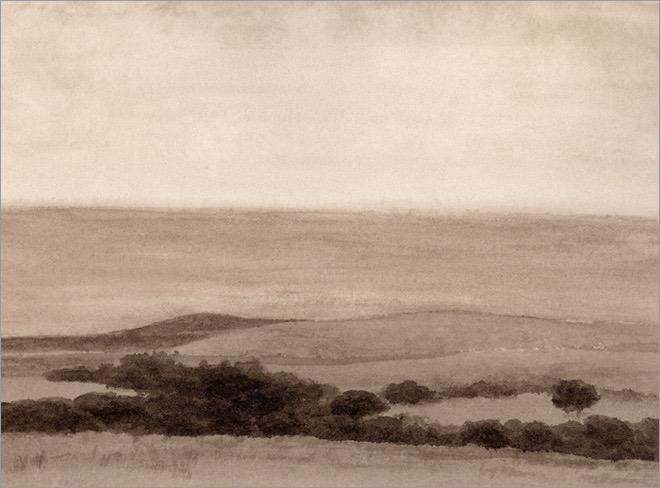 "Canada de Lluega, Hollister Ranch 5x6.5"" watercolor 2009"