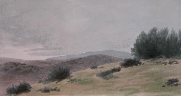"Hilltop, Cuyama 5x10"" watercolor 2006"