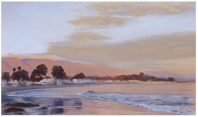"""Low Tide at Miramar 5x8"""" oil on paper 2002"""
