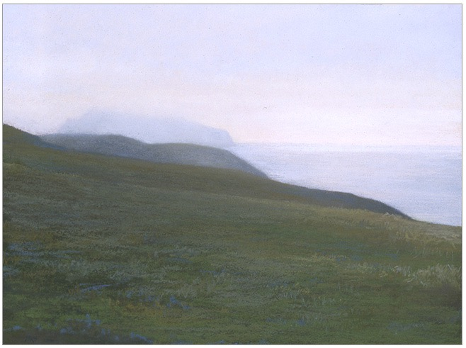 Winter Sunset, Anacapa 8x10 pastel 2006