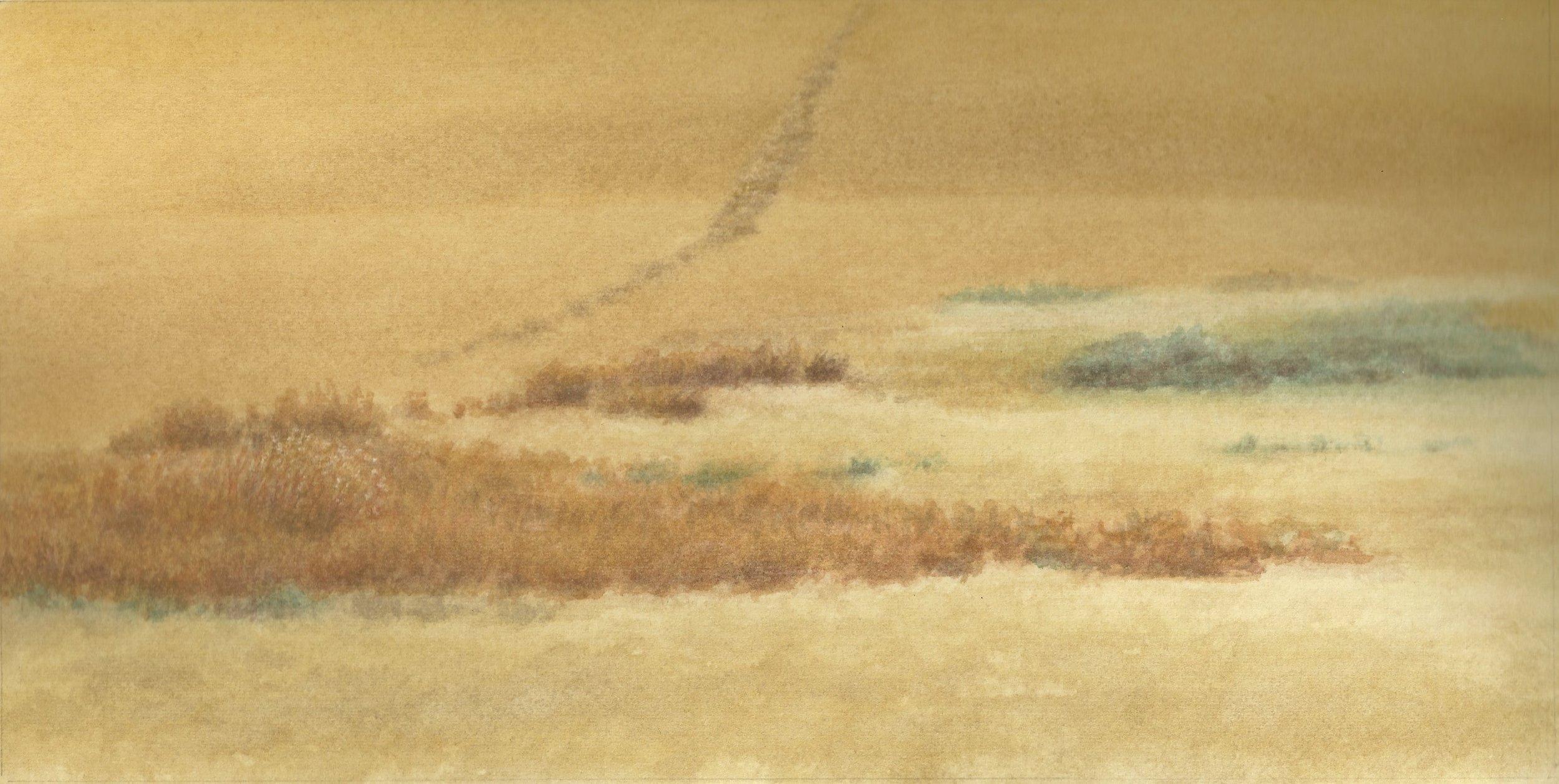 """Prairie Grasses/ Wheat Fields #1   4 x 10""""  gouache  2011"""