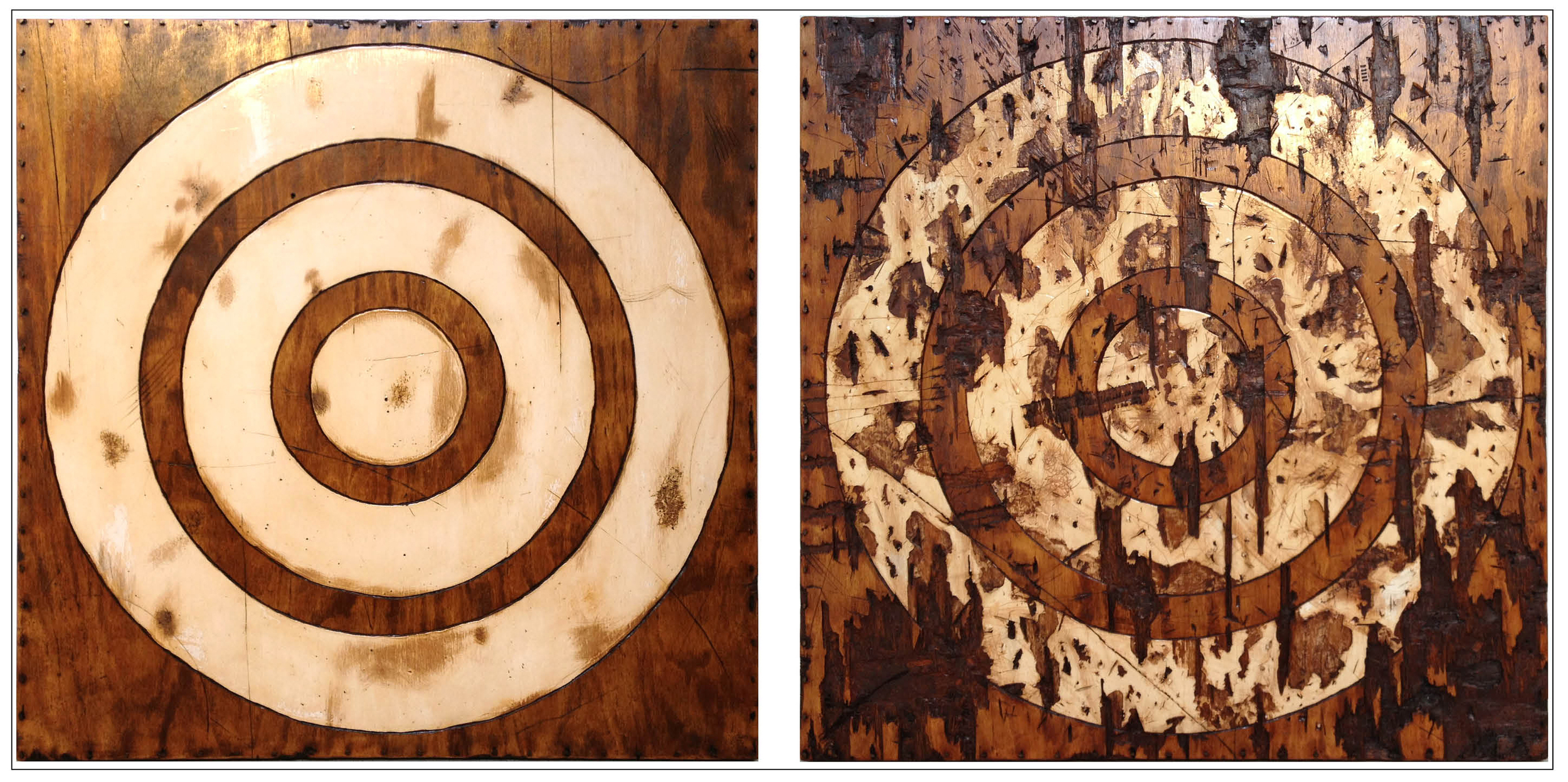 "A Tale of Two (diptych)  48"" x 96"" x 2""  oil paint, latex paint, shellac,   plywood, masonry nails   2013"