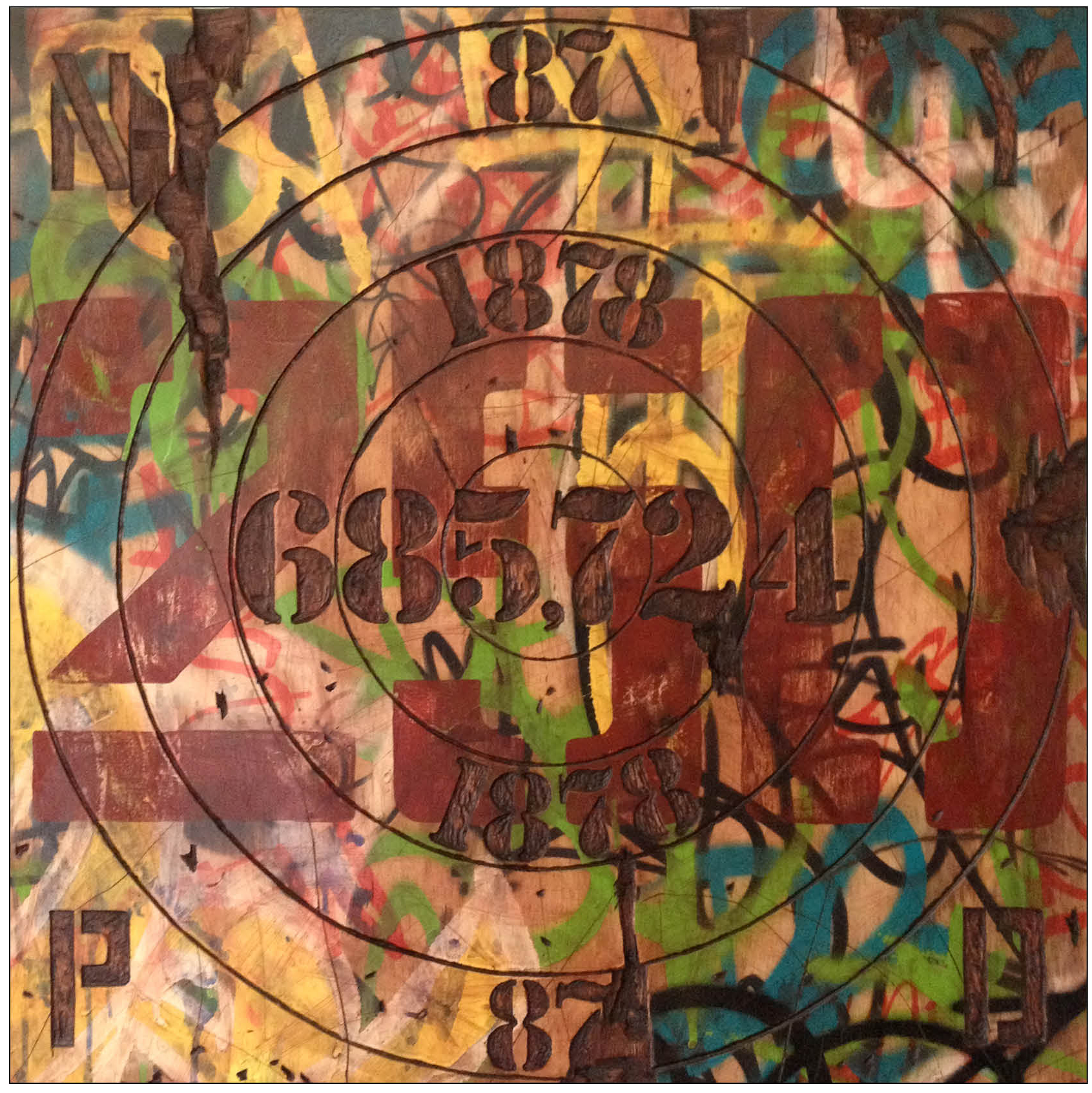 "New York, New York (The Stop & Frisk Gameboard)  24"" x 24""   oil paint, acrylic, spray paint, plywood  2013"
