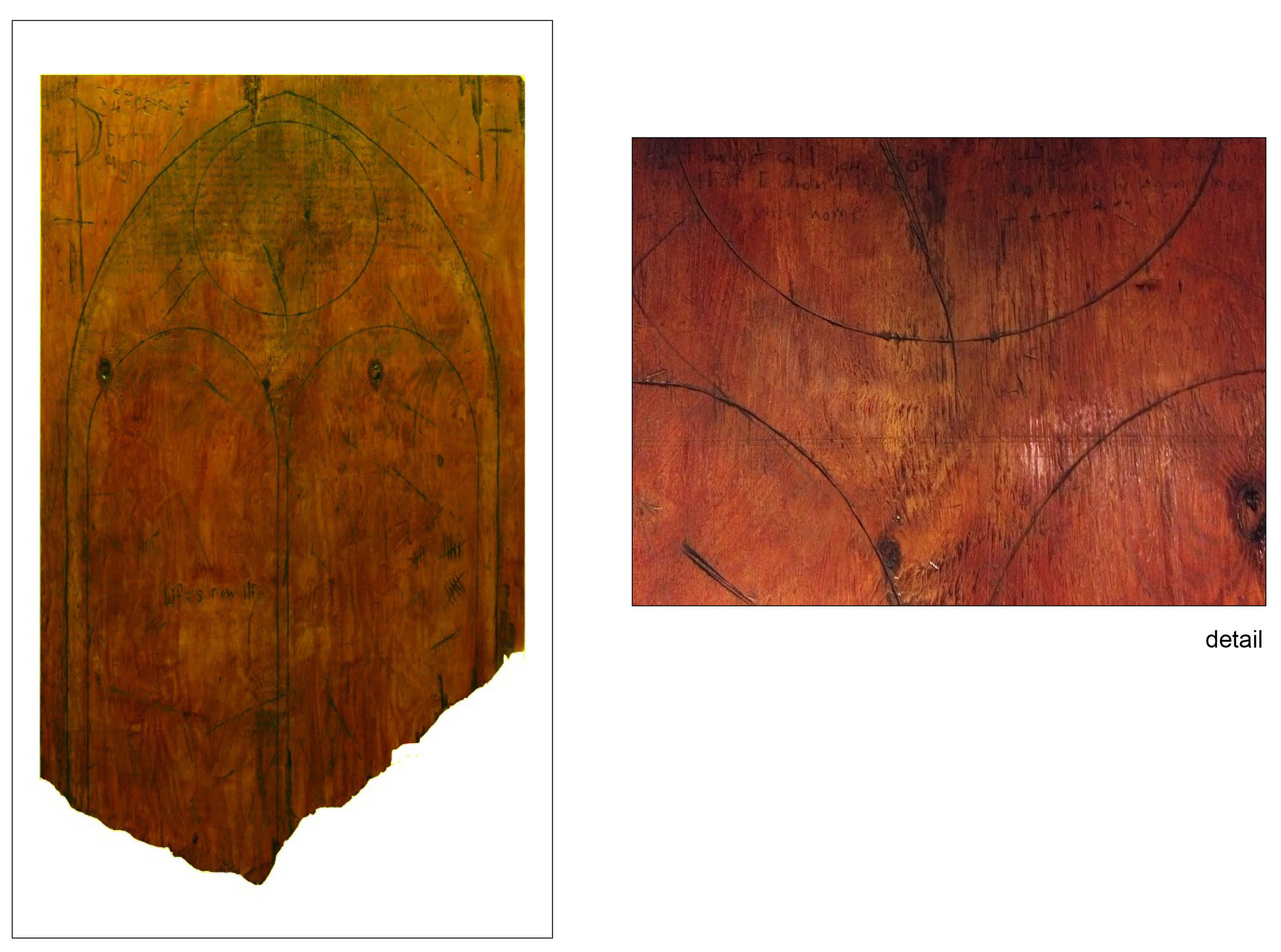 """Found   62"""" x 48""""  oil paint, shellac, plywood  2010"""