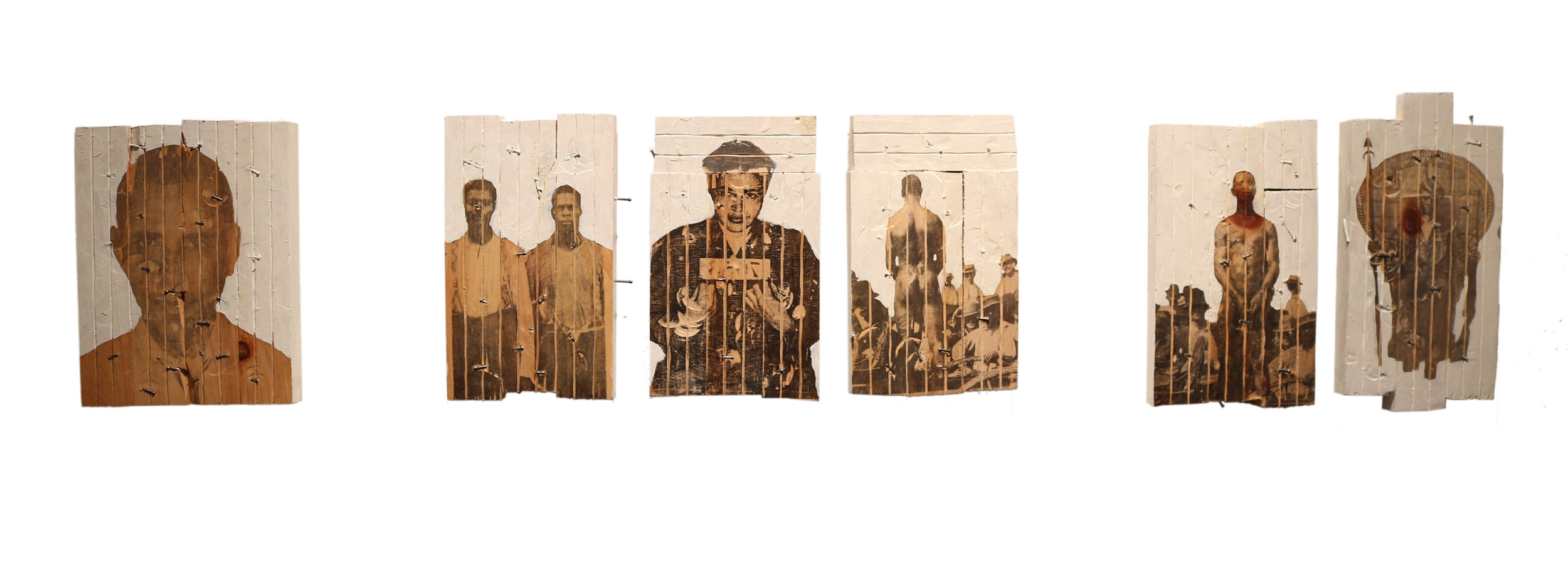 """Sentence Structure   34"""" x 7""""  Wood, xerox transfer, oil, nails  2011"""