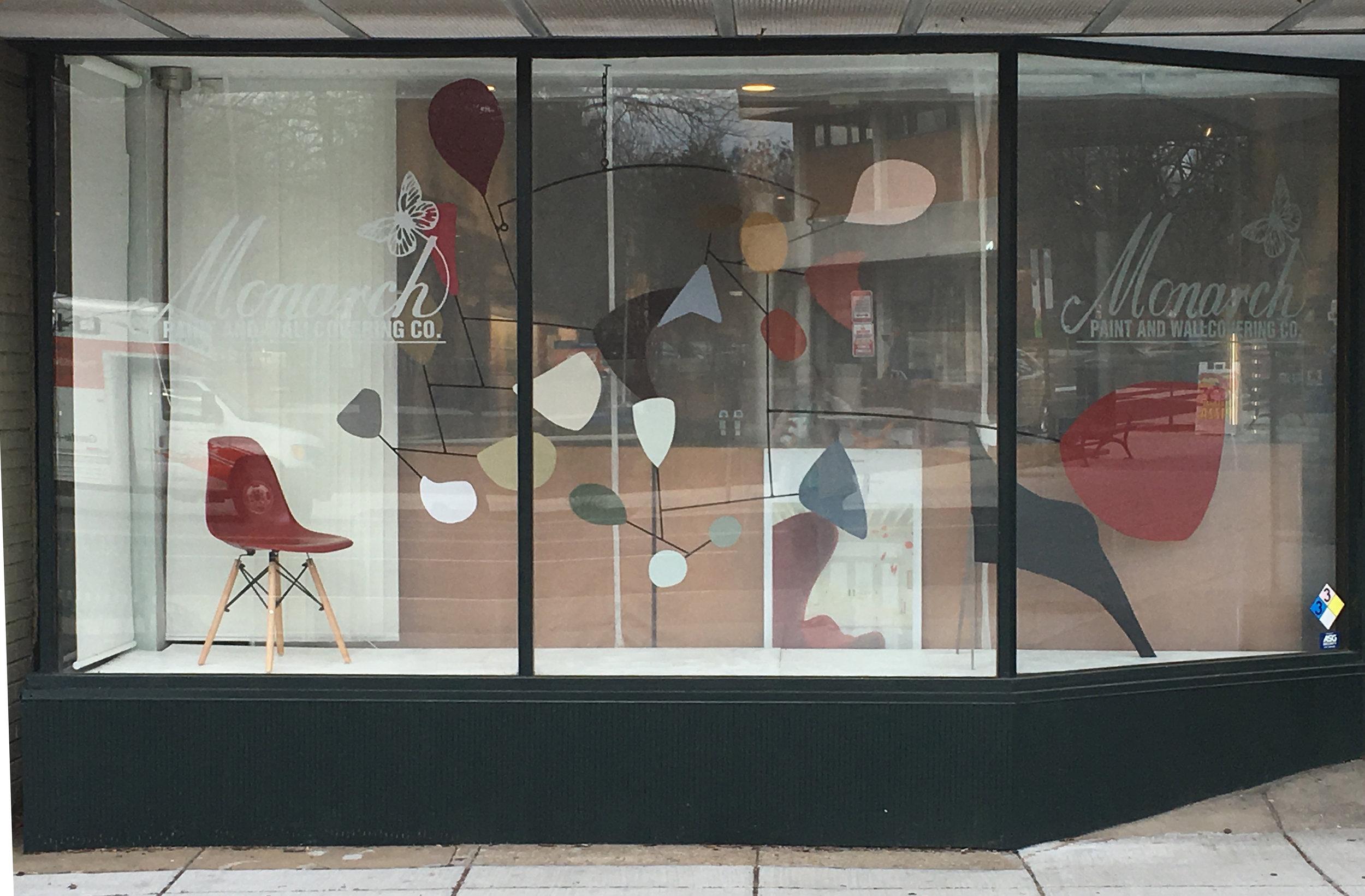 "Calderesque Conversations (Benjamin Moore 2018 Color Trends)  91"" x 83"" x 35""  steel, latex paint  2018  @ Monarch Paint and Design Center, Washington, DC"