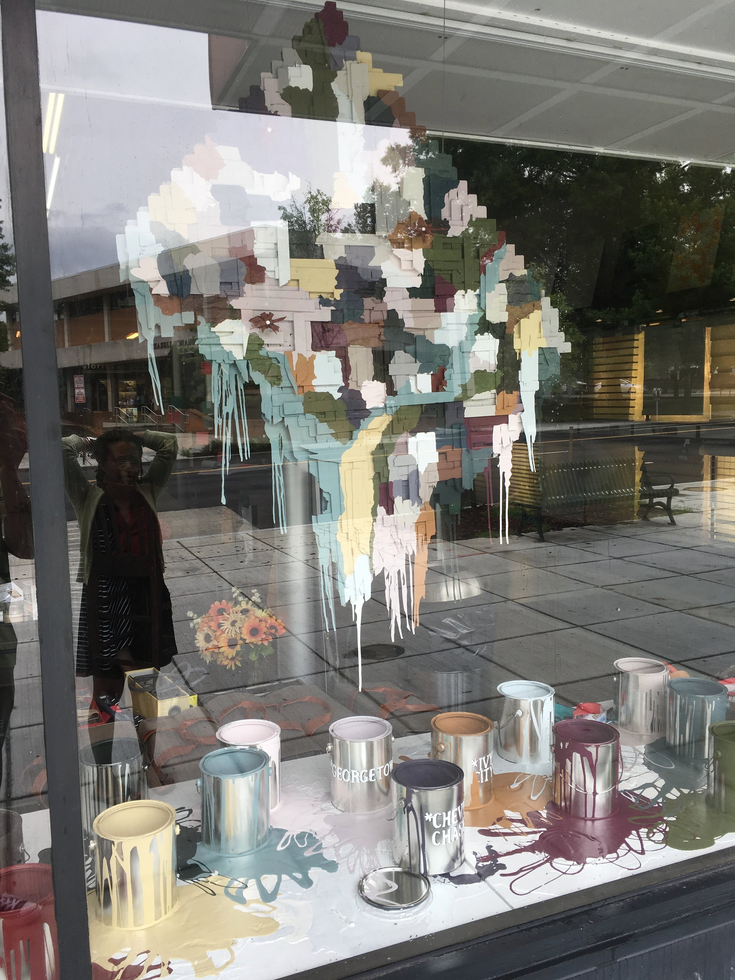 "Neighbors & Neighborhoods (Benjamin Moore 2017 Color Trends)  83"" x 83"" x 35""  latex, paint cans, wooden paint sticks  2017  @ Monarch Paint & Design Center, Washington, DC"