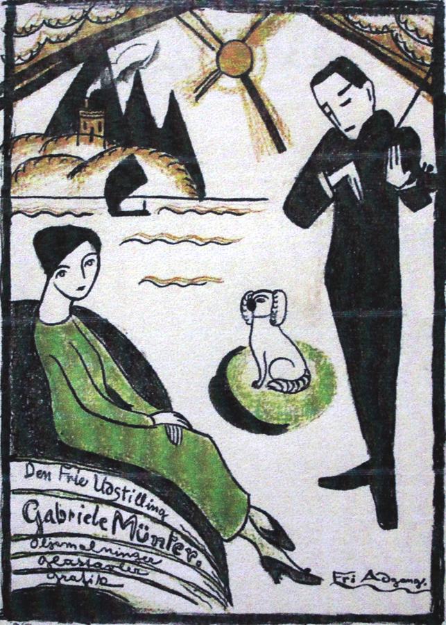 """MÜNTER, """"Plakat Für die G. Münter Ausstellung 1918 in Kopenhagen"""""""