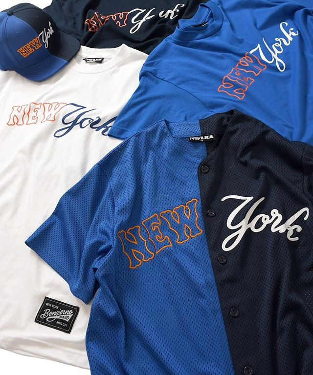 @privilegenewyork Collab collection available now! Online and in-store at Privilege NY. . . #bongiornobrand #pvlgnyc #cutandsew #newyork #collab #mets #yankees #jersey #hat #tshirt #subwayseries #baseball #streetwear #sportswear #bongiorno #mlb #mashup #shop #ny #nyc