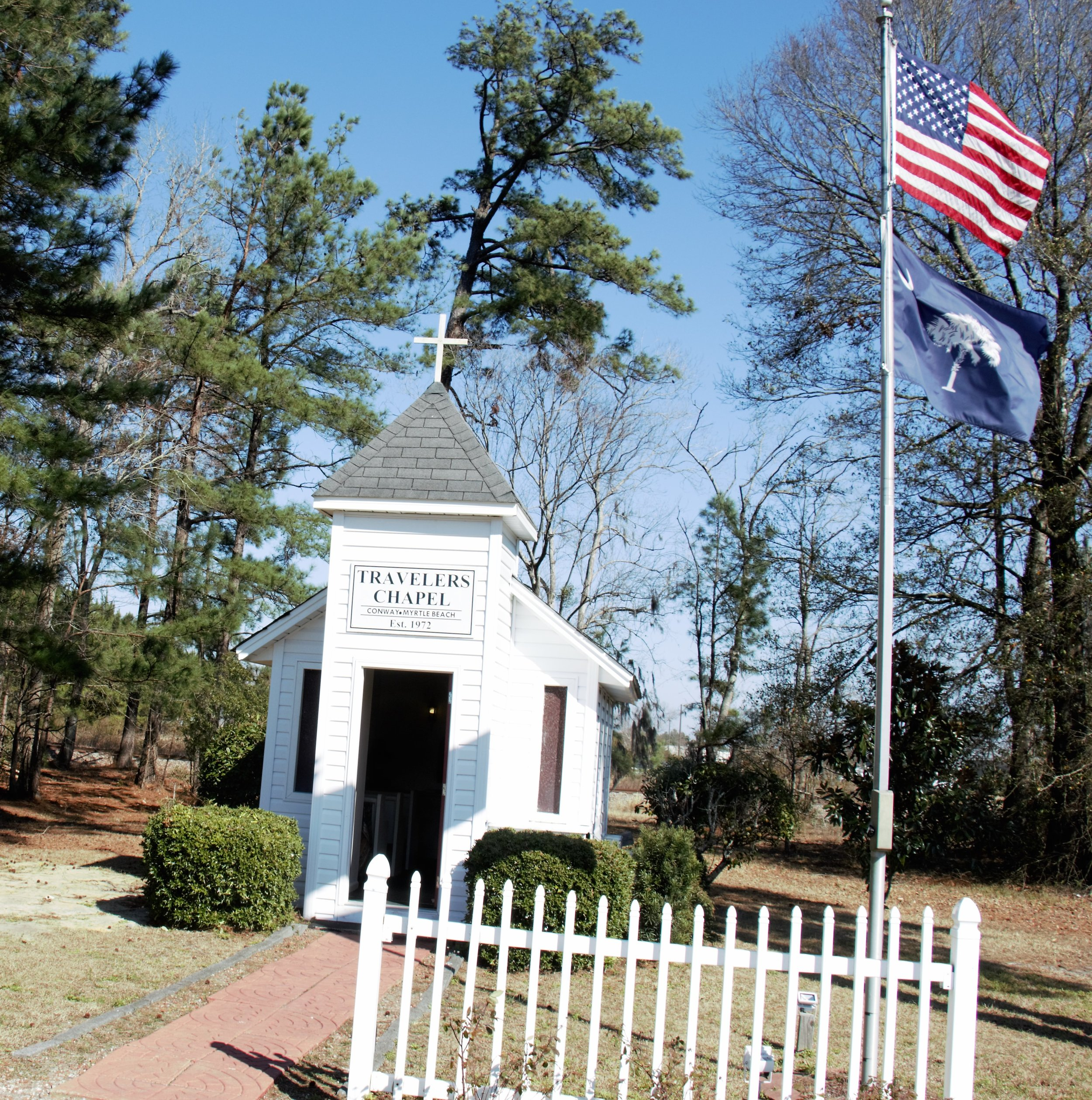 Travelers Chapel with Flags .jpg