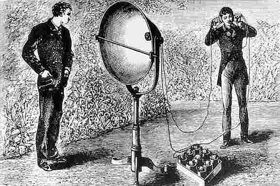 Early phone by Alexander Graham Bell  Source:  Wikipedia