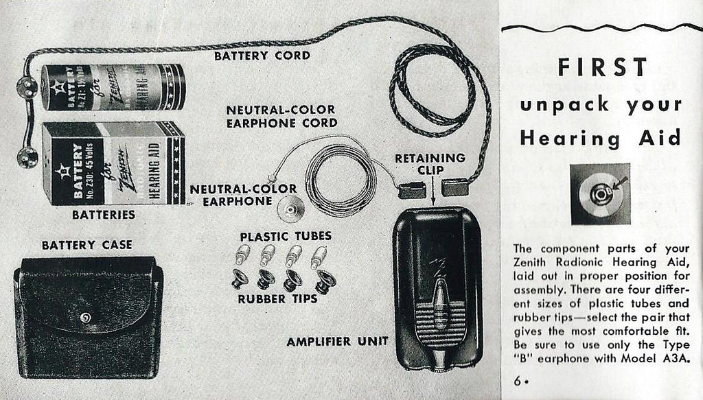 Advertisement for a vintage Zenith hearing aid  Source:  Flicker