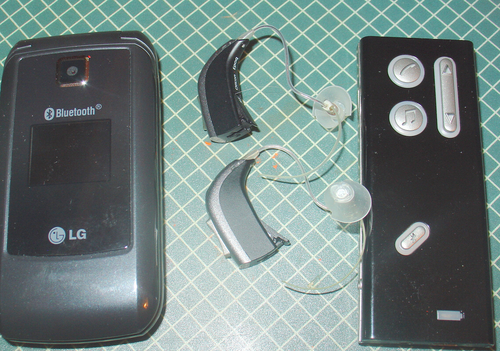 Modern hearing aid with Bluetooth capabilities  Source:  Wikipedia