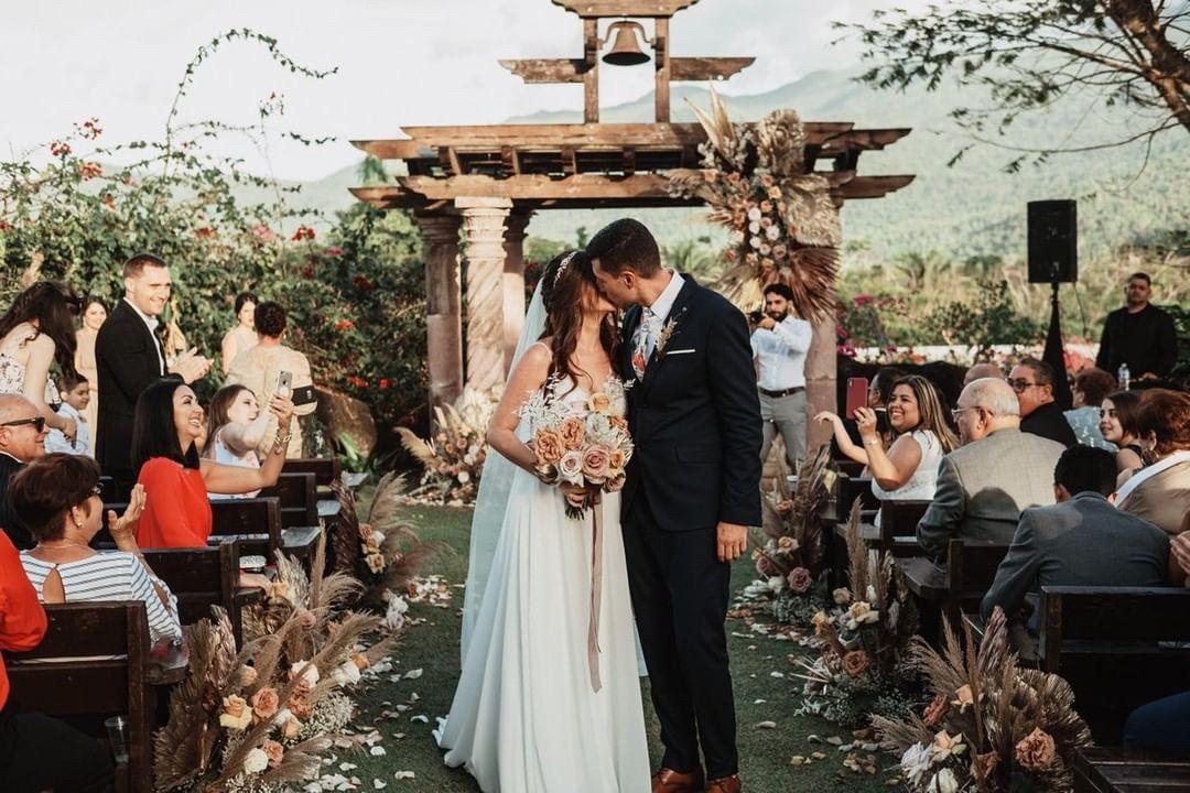 A Beautiful bof bride at her destination wedding in puerto rico