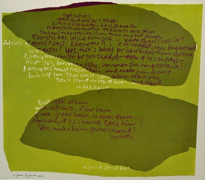 "Sister Mary Corita Kent, ""A Piece of Good News,"" ca1960s; silkscreen, signed"