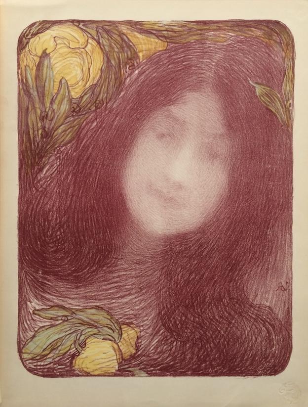 """Edmond Aman-Jean, """"Sous les Fleurs,"""" 1897; lithograph from L'Estampe Moderne portfolio."""