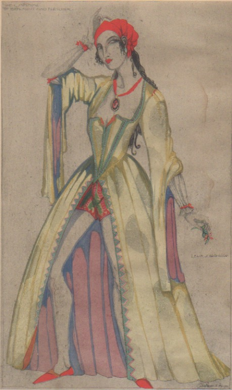 """Claud Lovat Fraser, """"Leilia, a Wanton Widow,"""" ca1920; hand-colored collotype."""