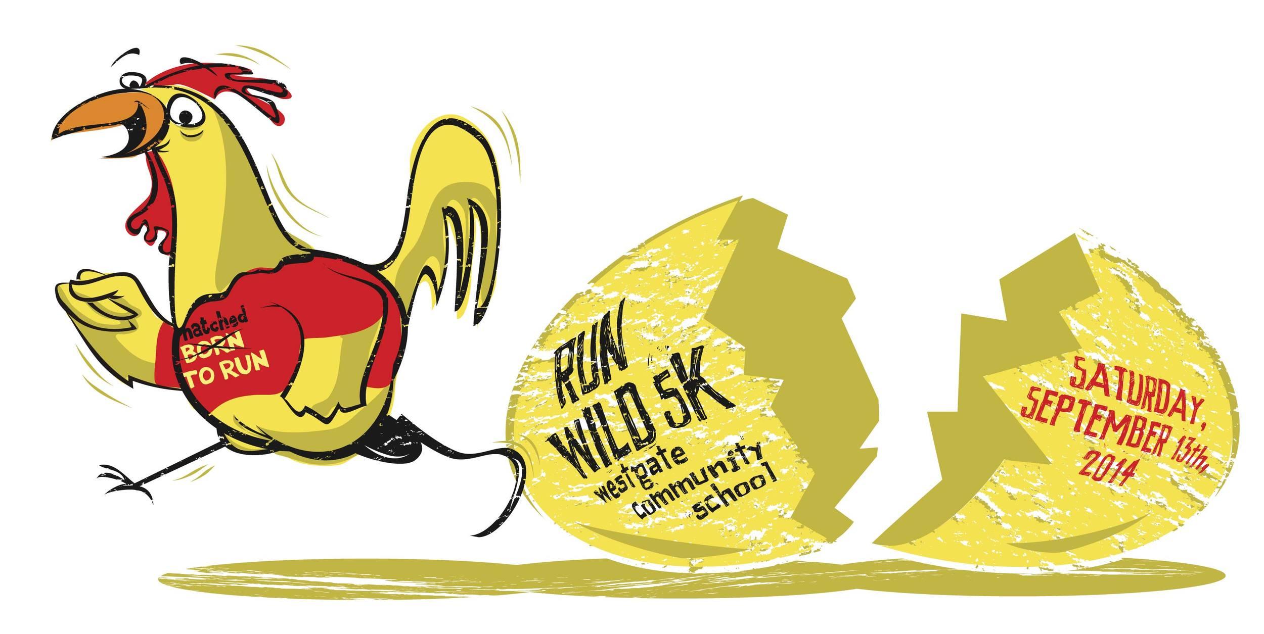 An illustration of a chicken running by Denver illustrator Jonathan Fenske