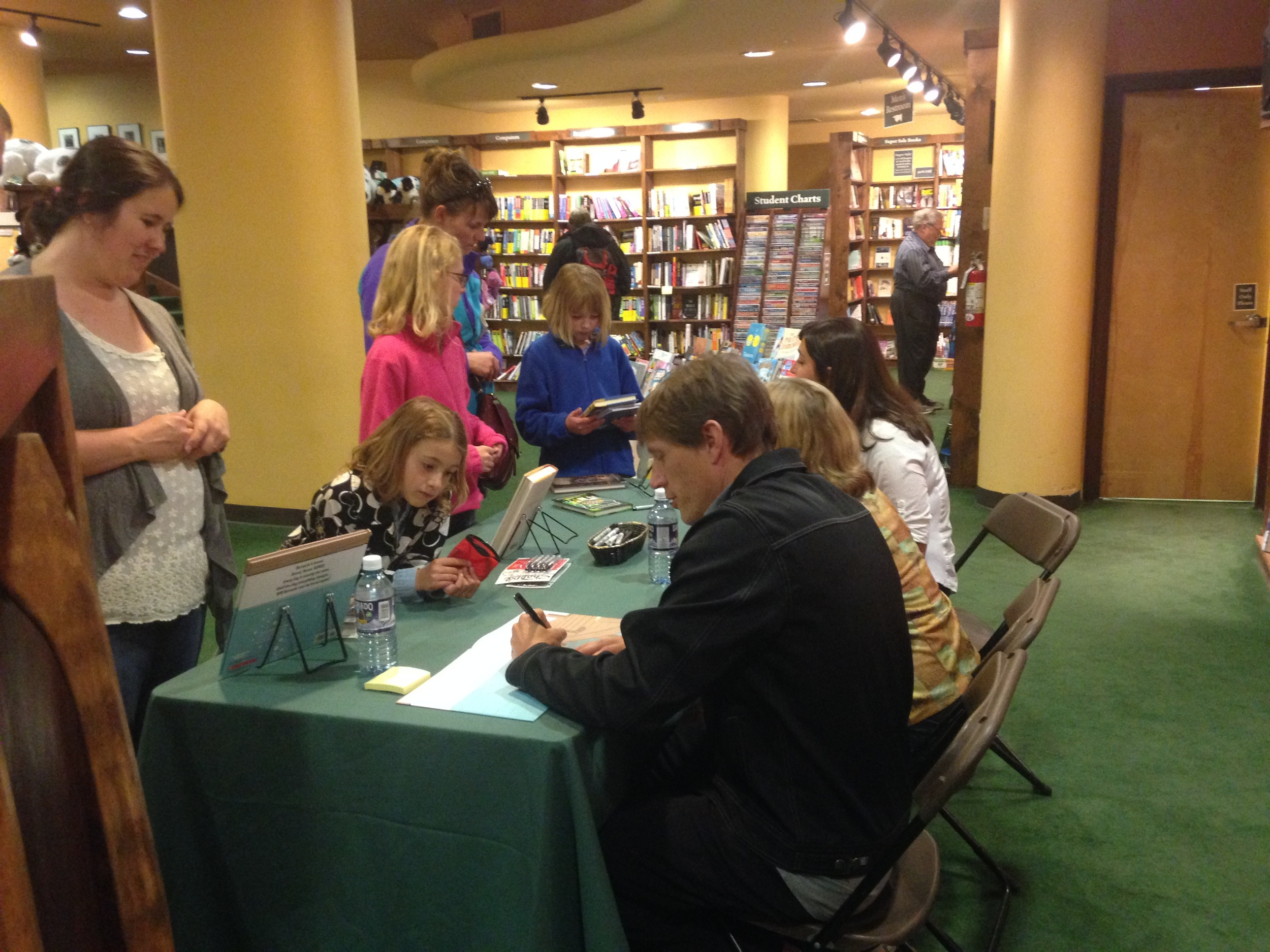 Signing books at the Tattered Cover, Colfax.