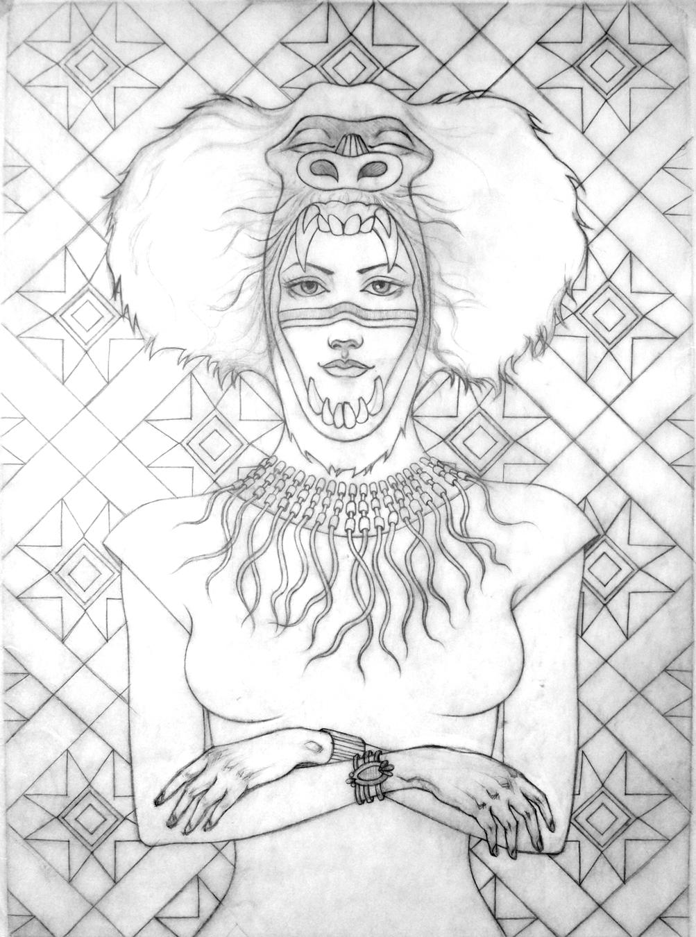 Baboon Empress (Drawing)
