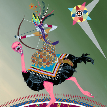 2010-Jeaneen Carlino-Tribal Narratives-Painting-Ostrich Assassin-SQ.jpg