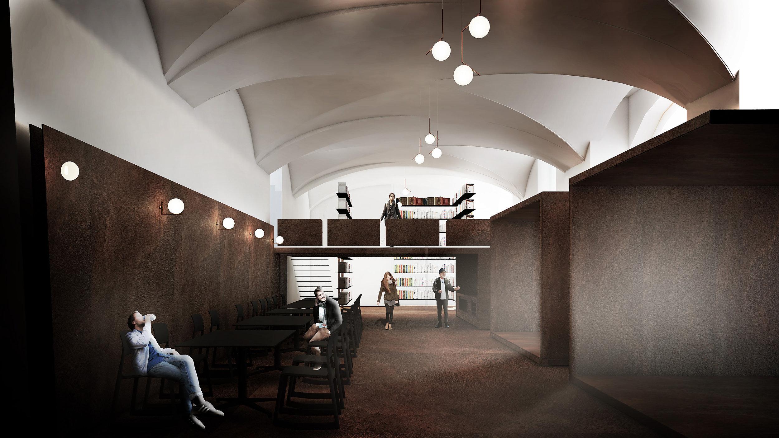 vista interior desde la cafetería, hacia la librería