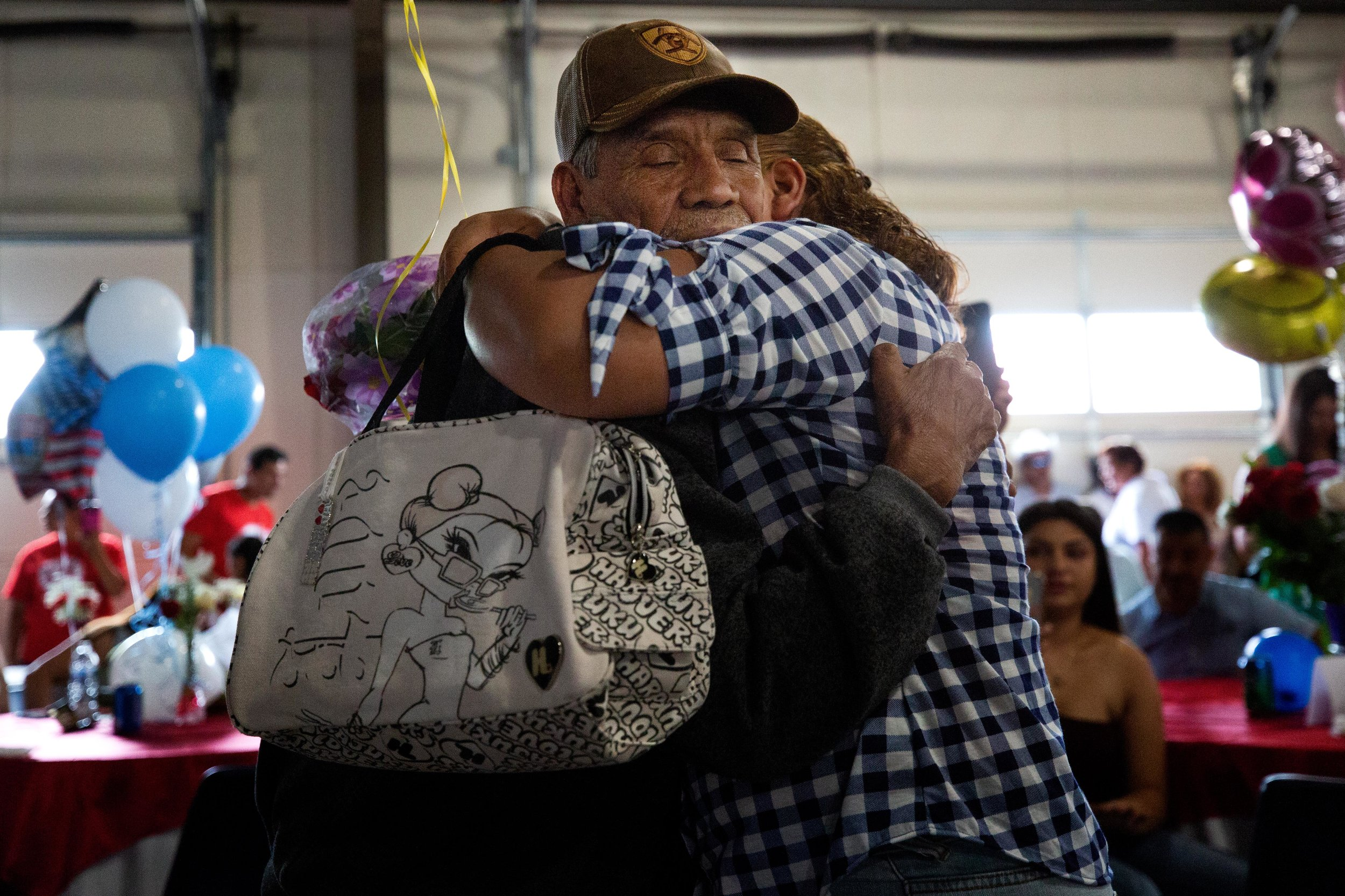 ROUND ROCK, TX. August 10, 2018. After decades apart, Mexican parents reunite with their undocumented children living in Round Rock, Texas. With help from the Consulate General of Mexico in Austin and the government of the State of Michoacán, each parent received a tourist visa, which will allow them to travel to the U.S. for six months at a time. A program called Palomas Mensajeras (homing pigeons) came to the Austin area to reunite the families. Montinique Monroe for KUT News