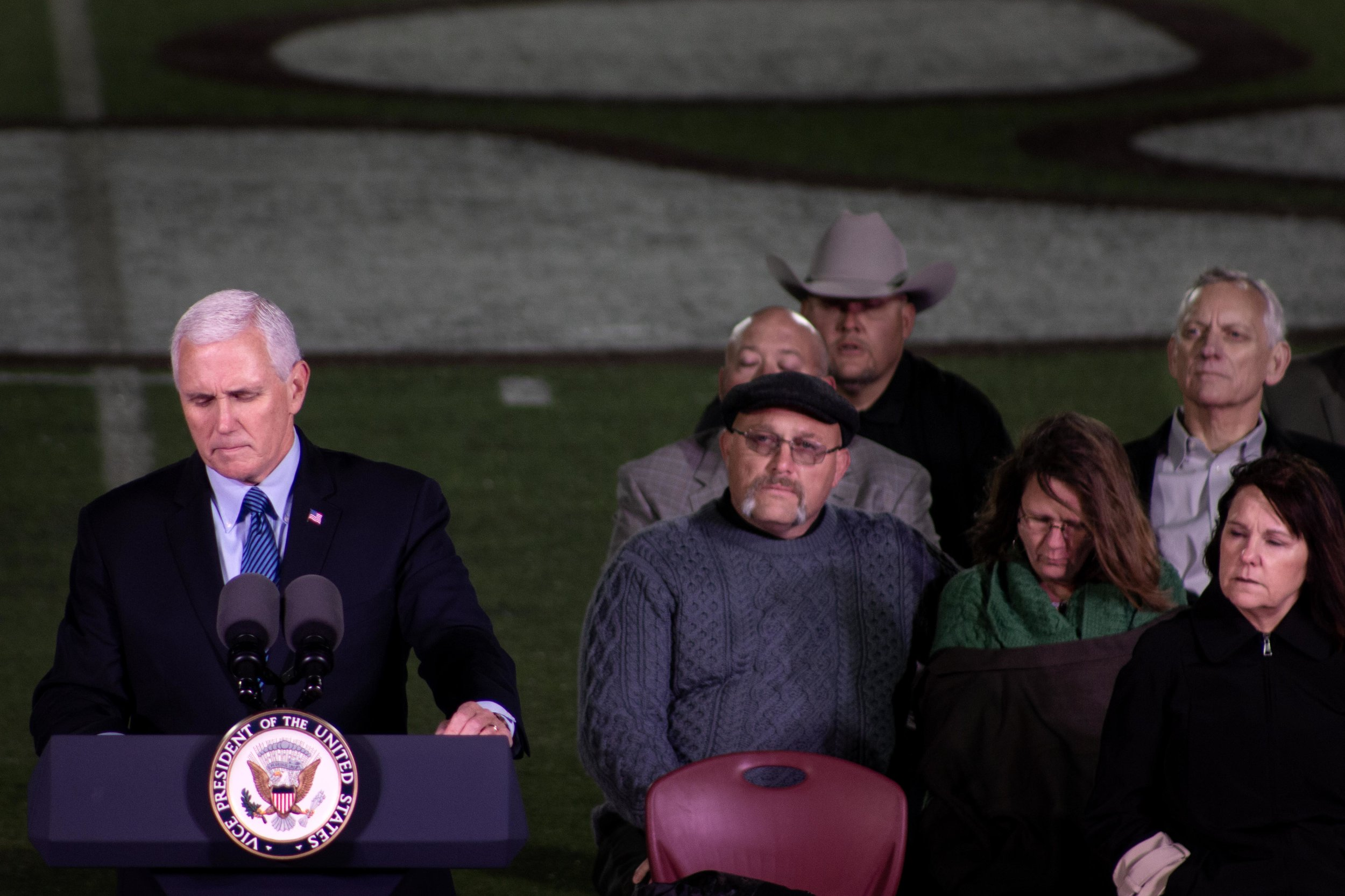 Vice President Mike Pence pauses during his speech at Floresville High School during a memorial for victims killed in the Nov, 5, 2017, church shooting in Sutherland Springs, Texas.