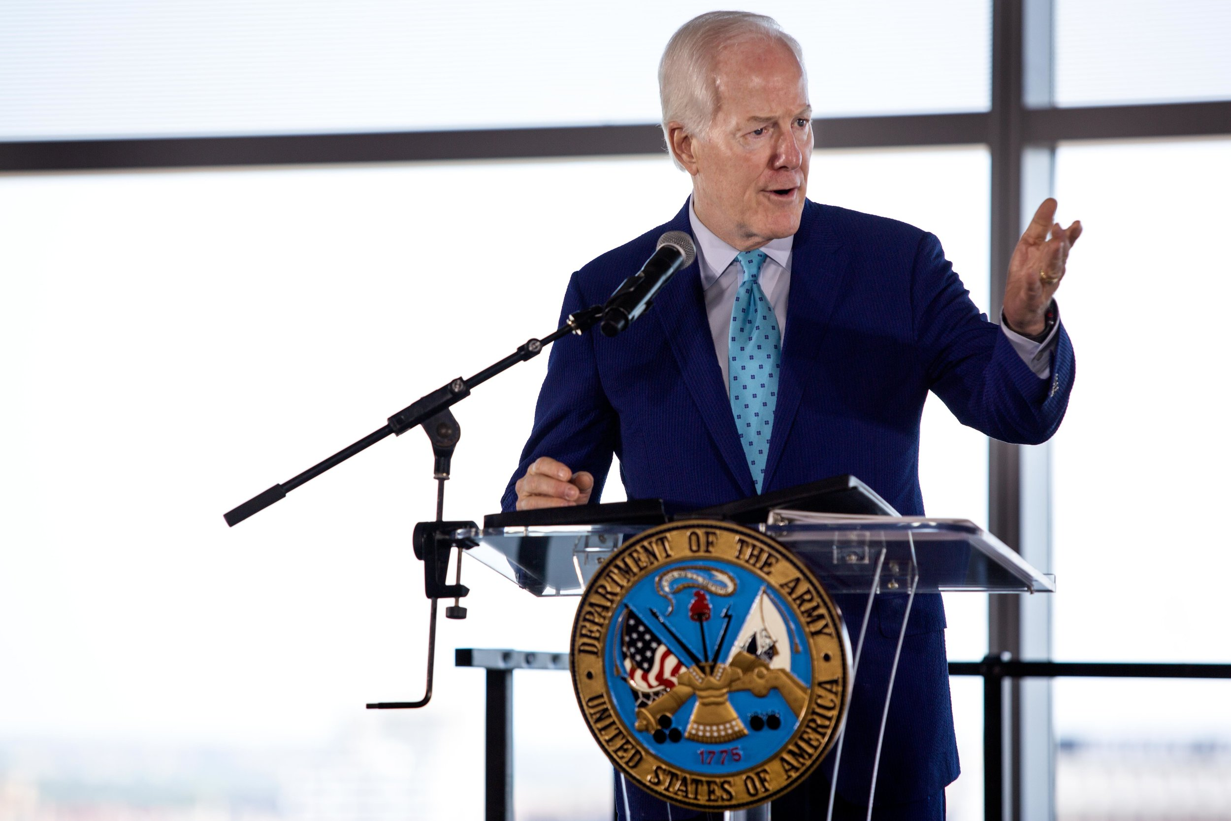 AUSTIN, TX. Aug 24, 2018. Sen. John Cornyn speaks at the launch of the U.S Army Futures Command in downtown Austin. Montinique Monroe for KUT News