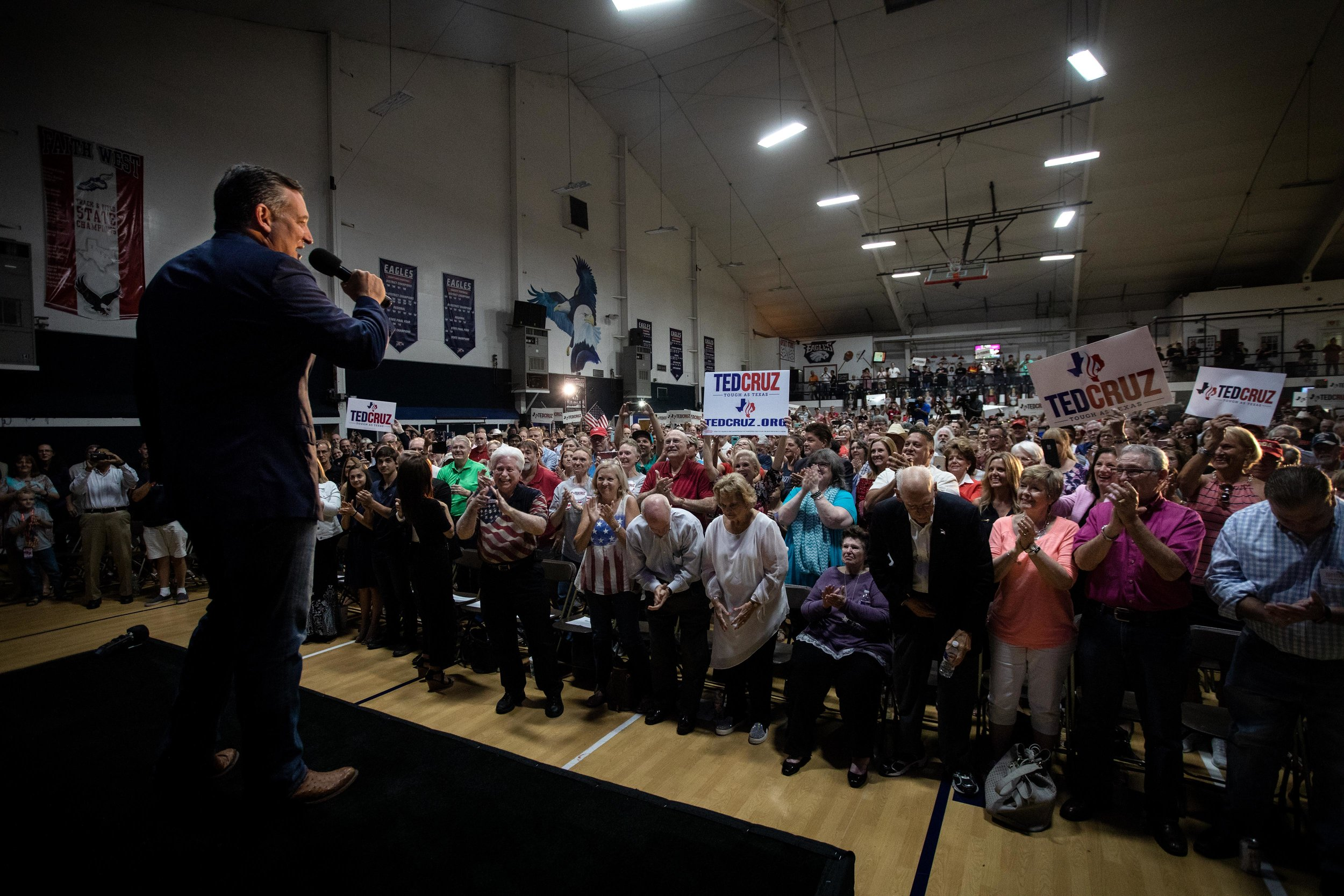 AUSTIN, TX. Sept. 8, 2018. U.S. Sen. Ted Cruz speaks during his campaign event in Katy, Texas. Montinique Monroe for KUT News