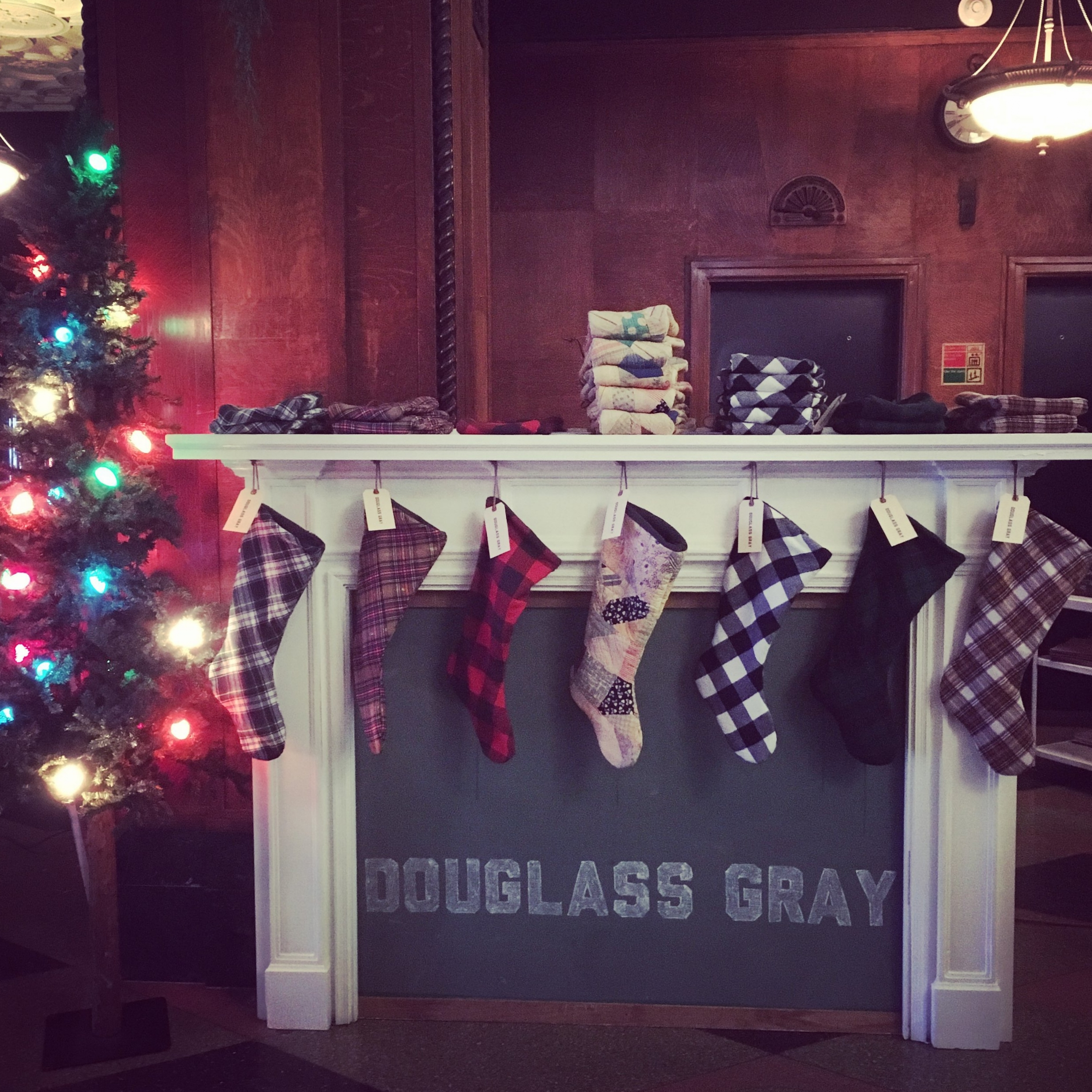 We loved these homemade stockings from the husband and wife team,Douglass Gray.