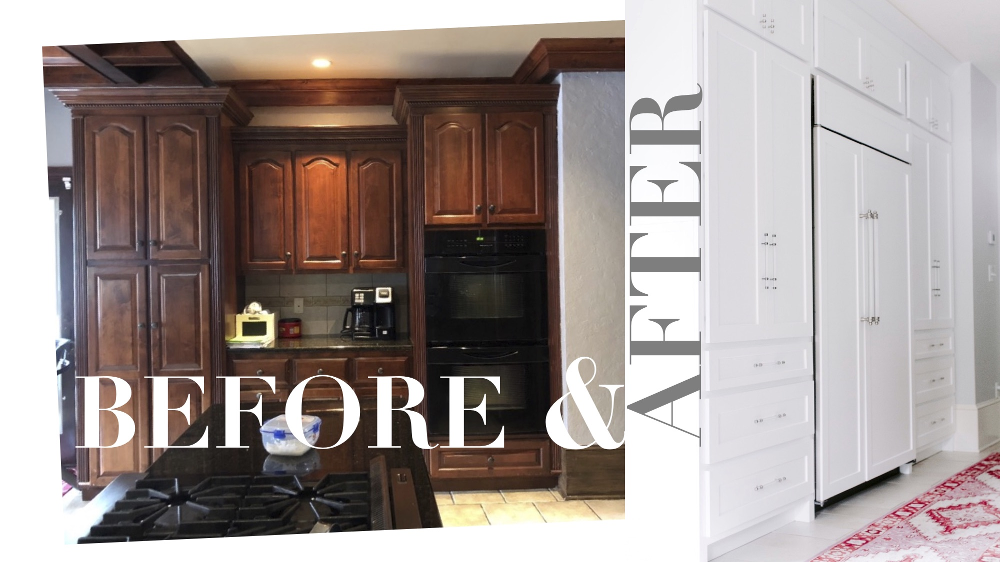 In order to create a beautiful hood along the wall where the fridge used to be, we moved the refrigerator to the center of this wall. We used a sub-zero panel ready refrigerator to make this wall clean, contemporary and more symmetrical. A pair of pantry cupboards flank the fridge.